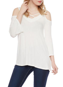 Cold Shoulder Top with Crisscross Straps - 1304015994400