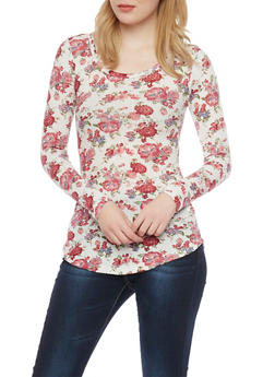 Floral Print Long Sleeve Thermal Top - 1304015998831