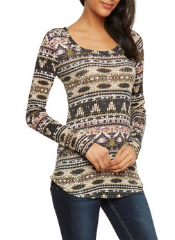 Aztec Print Long Sleeve Thermal Top - 1304015998832