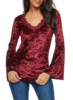 Crushed Velvet Lace Trim Top - 1304015999162