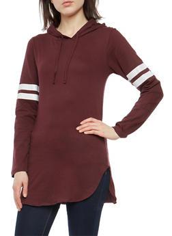 Varsity Stripe Hooded Long Sleeve Top - 1304033875341