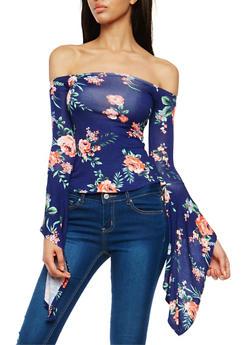 Floral Print Off the Shoulder Top - 1304038342097