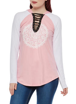 Graphic Lace Up Hooded Top - 1304038342328