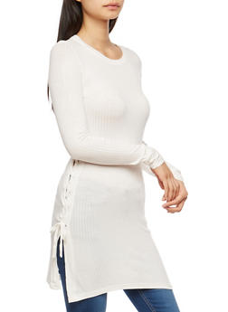 Lace Up Side Tunic Top - IVORY - 1304038342405