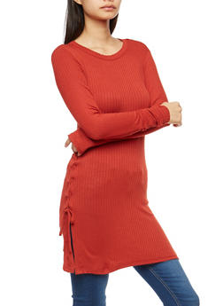 Lace Up Side Tunic Top - 1304038342405