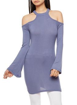 Mock Neck Cold Shoulder Tunic Top - 1304038342407