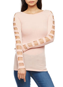 Ribbed Knit Caged Sleeve Top - 1304038342420