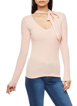 Ribbed Knit Tie Choker Neck Top - SALT - 1304038342422