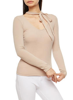 Ribbed Knit Tie Choker Neck Top - 1304038342422