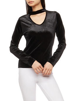 Long Sleeve Velvet Keyhole Top - BLACK - 1304038342462