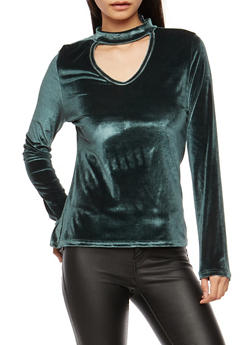 Long Sleeve Velvet Keyhole Top - GREEN - 1304038342462