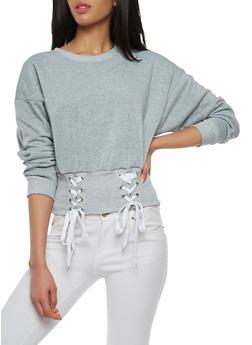Lace Up Rib Knit Trim Sweatshirt - 1304051060041
