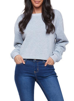 Fleece Ruched Sleeve Sweatshirt - 1304051069984