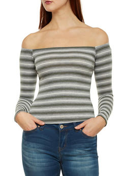 Rib Knit Striped Off the Shoulder Top - 1304054262743