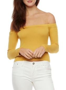 Off the Shoulder Crop Top in Ribbed Knit - MUSTARD - 1304054262747