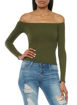Ribbed Off the Shoulder Top with Long Sleeves - 1304054262749