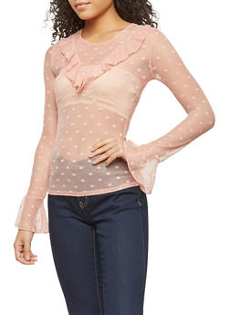 Polka Dot Mesh Ruffle Trim Top - 1304054265870