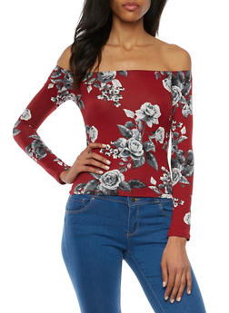 Off the Shoulder Top in Floral Print - 1304054267411