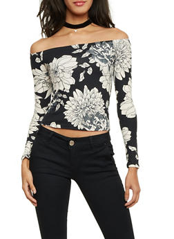Off the Shoulder Top in Floral Print - BLACK - 1304054267412