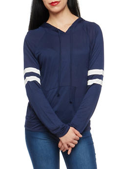 Hooded Sweatshirt with Striped Sleeve Detail - 1304054269778
