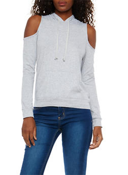 Cold Shoulder Hooded Sweatshirt - 1304054269950