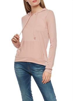 Hooded Long Sleeve Top - MAUVE - 1304054269951
