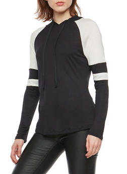 Color Block Hooded Long Sleeve Top - 1304054269963