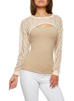 Crochet Open Front Crop Top - 1304058750193