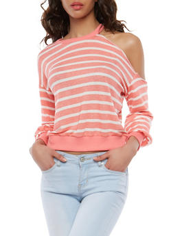 French Terry Striped One Shoulder Top - 1304058750293