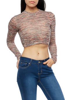 Marled Burgundy Crop Top - 1304058750449