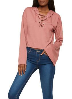 Lace Up Bell Sleeve Sweatshirt - 1304058750467