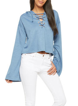 Lace Up Bell Sleeve Sweatshirt - 1304058750467