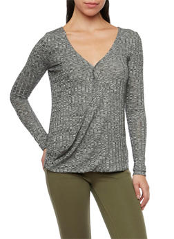 Fixed Wrap Front Top in Marled Knit - 1304058755066