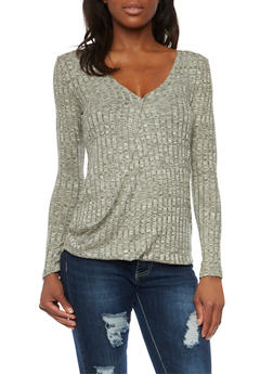 Fixed Wrap Front Top in Marled Knit - OLIVE - 1304058755066