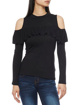 Mock Neck Ruffled Cold Shoulder Top - 1304058757758