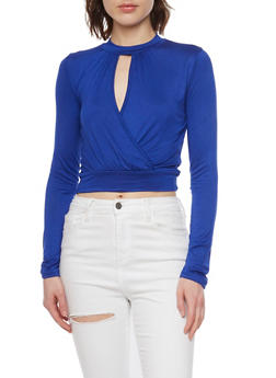 Long Sleeve Mock Neck Crop Top with Keyhole - 1304058758055