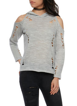 Cold Shoulder Hoodie with Lasercut Detail - 1304058758633