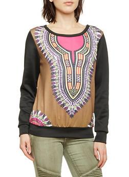 Dashiki Print Sweatshirt with Contrasting Sleeves - 1304067330135