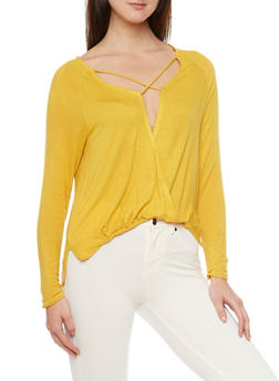 Long Sleeve High Low Faux Wrap Front Top - MUSTARD - 1304067330172