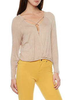 Long Sleeve High Low Faux Wrap Front Top - 1304067330172