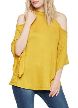 Cold Shoulder Top with Batwing Sleeves - MUSTARD - 1304067330445