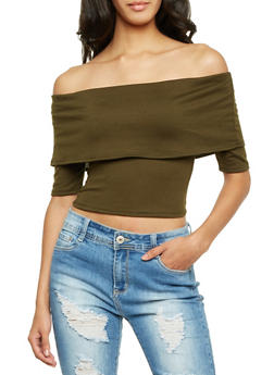 Off the Shoulder Crop Top with Overlay Panel - 1304067330450