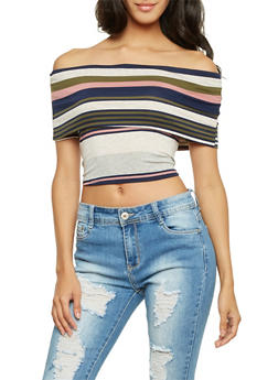Off the Shoulder Crop Top in Stripes - 1304067330453