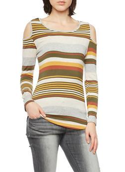 Striped Cold Shoulder Top - 1304067330454