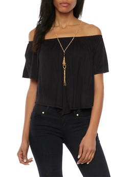 Off the Shoulder Swing Top with Necklace - 1304067331203
