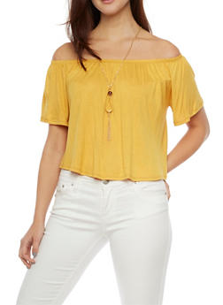 Off the Shoulder Swing Top with Necklace - MUSTARD - 1304067331203