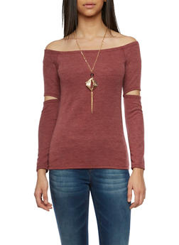 Off the Shoulder Top with Necklace - 1304067332652