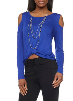 Cold Shoulder Knot Waist Top with Multi Layered Necklace - 1304067333534
