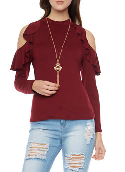 Ruffled Long Sleeve Cold Shoulder Top with Mock Neck and Necklace - BURGUNDY - 1304067333634