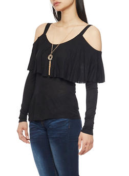 Solid Long Sleeve Cold Shoulder Ruffle Overlay Top - 1304067333834